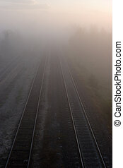 ferroviaire, brume, matin