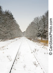 ferroviaire, ciel bleu, pâle, neige
