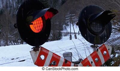 ferroviaire, clignotant, trafic, rouges, winter., dépassement, forêt, lumière, croisement, train