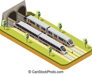 ferroviaire, composition, isométrique, train