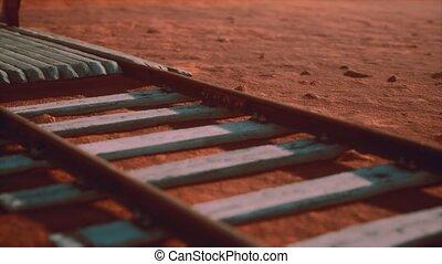 ferroviaire, désert, abandonnés, pistes