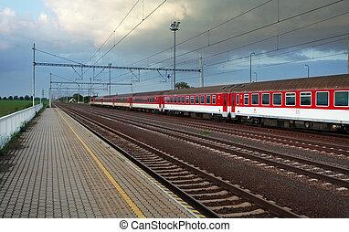 ferroviaire, -, gare, plate-forme