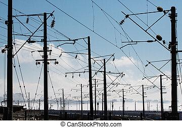 ferroviaire, industriel, pistes, paysage