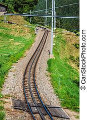 ferroviaire, jour ensoleillé, classique, il, switzerland., railway.