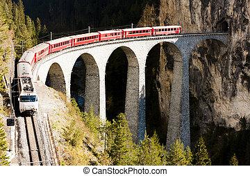 ferroviaire, landwasserviadukt, canton, rhaetian, train, ...