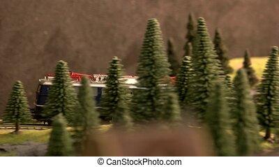 ferroviaire, locomotive, en mouvement, forest., vendange, par, diesel