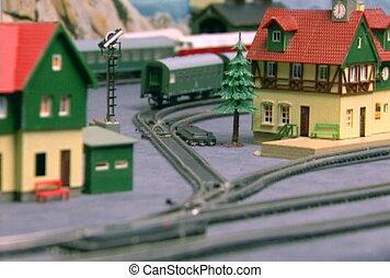 ferroviaire, modèle, (part21), planche pain, ntsc
