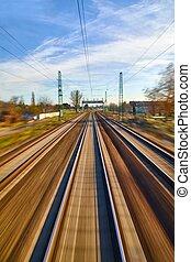 ferroviaire, pistes, barbouillage