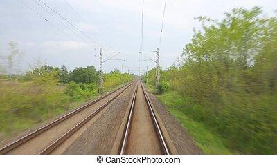 ferroviaire, point, voyage, vue