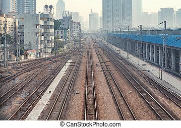 ferroviaire, soir, station, shenzhen., time., vue