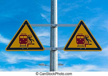 ferroviaire,  station, avertissement, signe