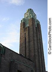 ferroviaire, tour, horloge, helsinki, station, finlande