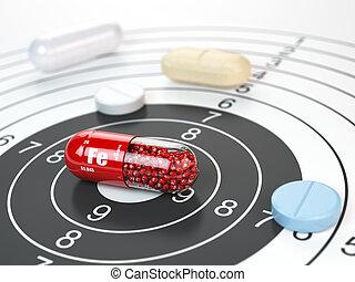 ferrum, centre, suppléments, concept., vitamines, alimentaire, élément, fe, fer, target.dietary, pilule