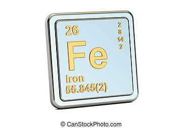 ferrum, iron Fe chemical element sign. 3D rendering