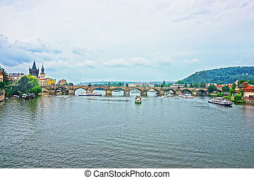 Ferry and boat at Charles Bridge Prague