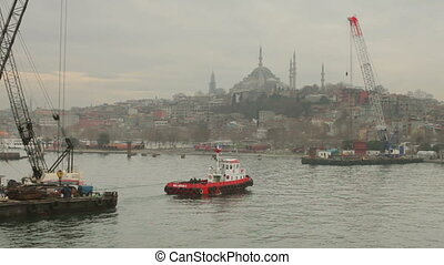 ferry and boats in the bosphorus straits, istanbul, turkey