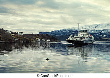 Ferry aproaching pier in Norway