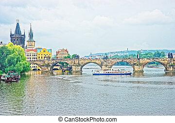 Ferry at Charles Bridge in Prague