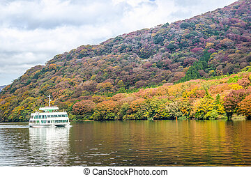 Ferry at Lake Ashi, Autumn Landscape with colorful forest