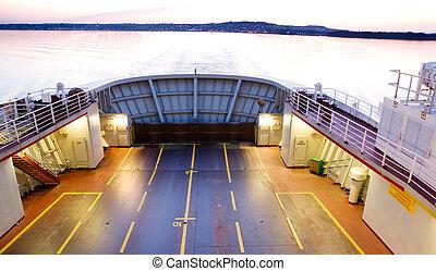 ferry-boat, à, coucher soleil