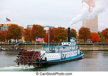 Ferry Boat and Flags - Ferry or steam boat in Portland on...