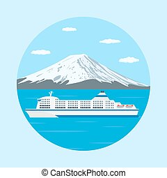 ferry boat - picture of a ferry boat in front of big...