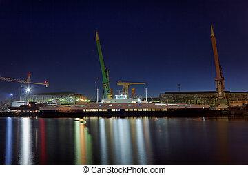 ferry-boat, dans, les, nuit