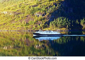 ferry-boat, dans, norvège
