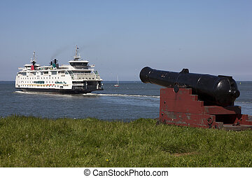 ferry-boat, entrer, port