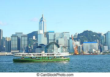 ferry-boat, hong, étoile, port, kong