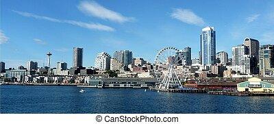ferry-boat, horizon, seattle
