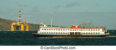 Ferry boat in the Guanabara Bay - Ferry boat called 'Barca' ...