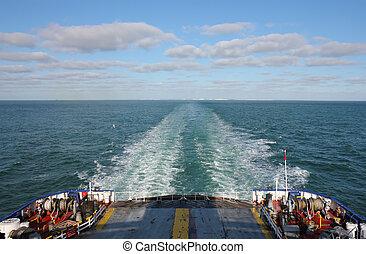 Ferry Boat leaving UK land from Dover to Calais - Ferry Boat...