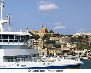 Ferry boat near of Gozo coastline - Ferry in harbor of Gozo...
