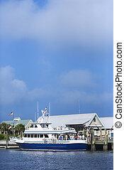 Ferry boat docked at port on Bald Head Island, North Carolina.