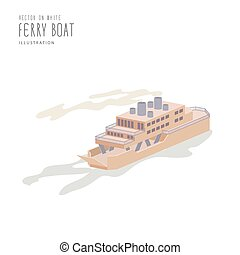 Ferry Boat on white background flat vector.