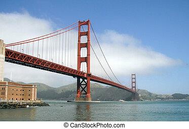 Ferry Boat passes under Golden Gate Bridge in San Francisco....