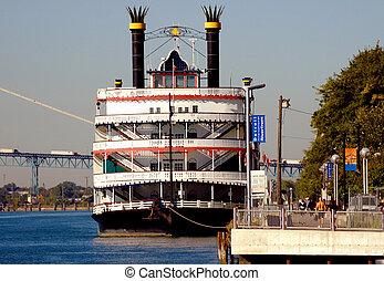 ferry-boat, rivière, détroit, bateau