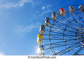 ferry-boat, roue, sous, bleu clair, ciel
