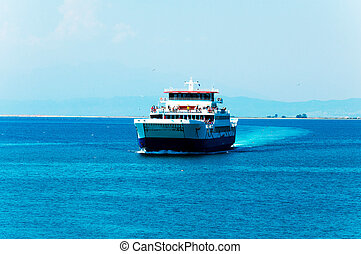 Ferry boat on the sea. selective focus on the ferry boat