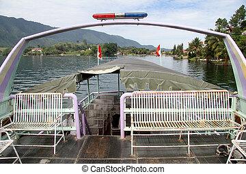 Ferry boat on the lake Toba near Samosir island, Indonesia