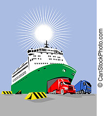 Ferry boat with trucks coming out - Illustration on marine...