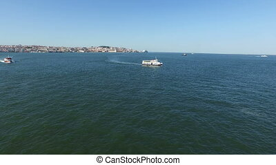 Ferry boats near Lisbon Portugal - Aerial from ferry boats...