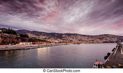 Ferry coming to a harbor in Funchal, Madeira, Portugal
