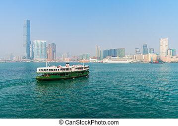 Ferry crossing the water in modern city - Ferry, crossing...