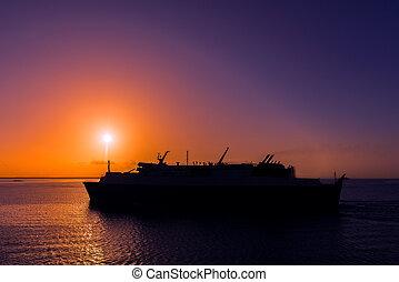 Ferry cruising Caribbean Sunset