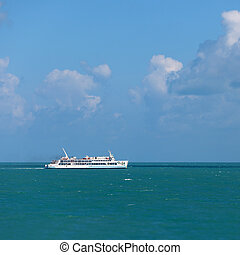 Ferry goes by sea - Thailand - Old ferry goes by sea -...