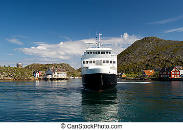 Ferry in a fjord - The ferry in a fjord of Norway