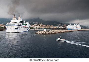 Ferry in Bastia - Ferries in Bastia harbour, Corsica - ...