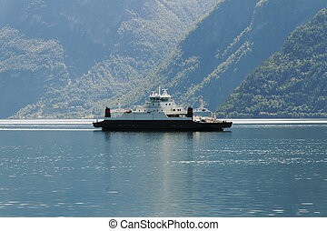 Ferry in norwegian fjord.